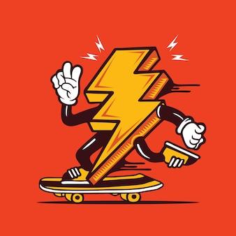 Skater lighting bolt skateboarding diseño de personajes