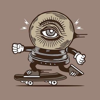 Skater skateboard crystal ball eye diseño de personajes