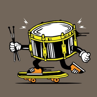 Skater skateboard drum con diseño de personajes sticks