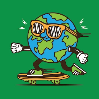 Skater skateboard earth globe diseño de personajes