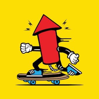 Skater skateboard fuegos artificiales diseño de personajes