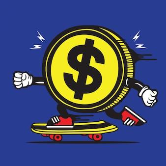 Skater skateboard moneda dólar diseño de personajes