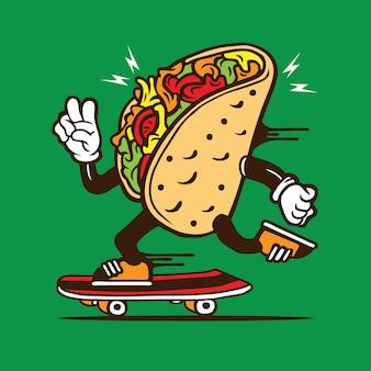 Skater taco skateboarding diseño de personajes