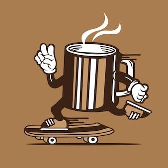 Skater taza de café skateboarding diseño de personajes