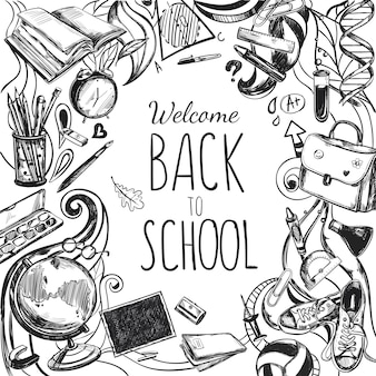 Sketch doodles back to school frame