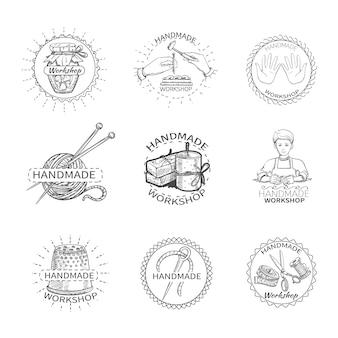 Sketch taller de costura hecho a mano de alta calidad etiqueta conjunto de costura