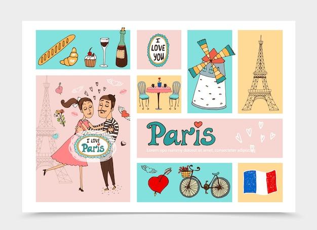 Sketch travel to paris composición