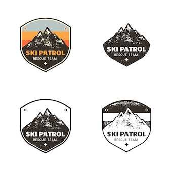 Ski club logos, plantillas de insignias de patrulla con montañas parches de viaje