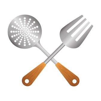 Skimmer de plata con herramientas de gran tenedor