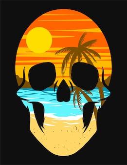 Skull beach tropical aislado en negro