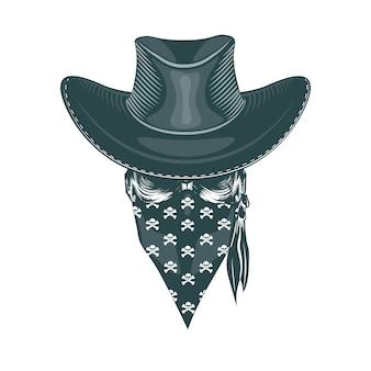 Skull cowboy en una máscara