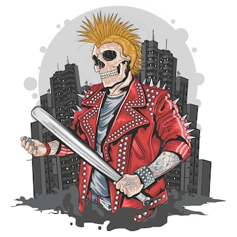 Skull gangster punk con bat de béisbol