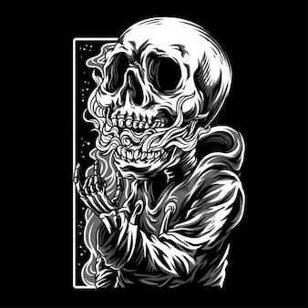 Skull kids black & white illustration