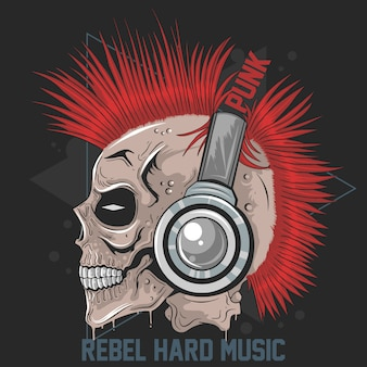 Skull music punk headphone mohawk hair vector artwork