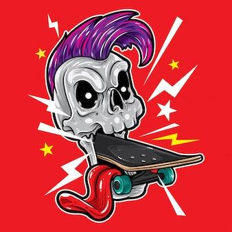Skull punk skateboard