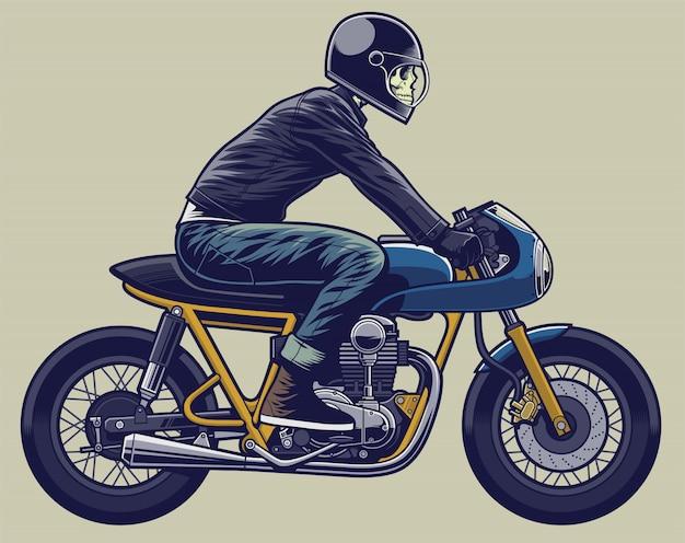Skull rider ilustración esqueleto en moto