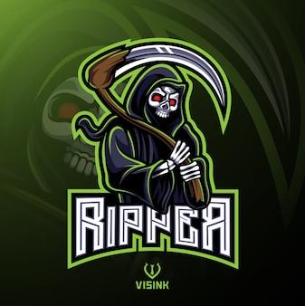 Skull ripper logo mascota diseño