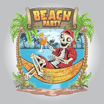 Skull summer beach party vector de arte del árbol de coco