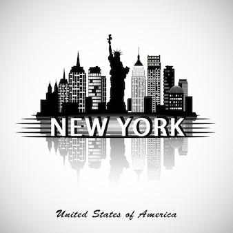 Skyline de la ciudad de nueva york silueta de la ciudad de nueva york vecror ilustración.