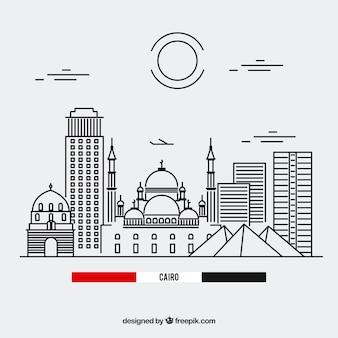 Skyline de el cairo con estilo lineal