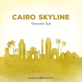 Skyline elegante de el cairo en acuarela