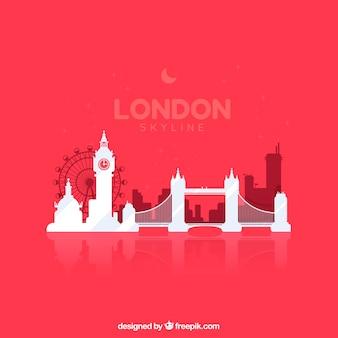 Skyline de londres sobre fondo rojo