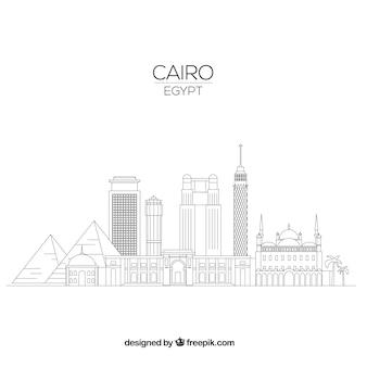 Skyline moderno de el cairo con estilo lineal