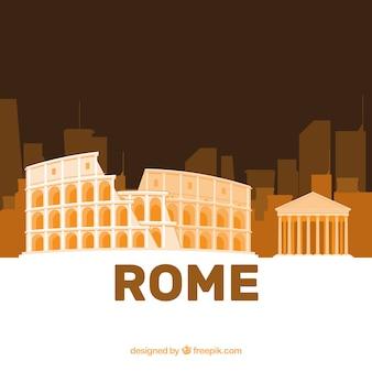 Skyline de roma con el colosseum