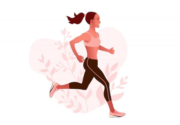 Slim ajustado mujer corriendo al aire libre en ropa deportiva. mañana de verano para correr.
