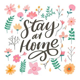 Slogan stay at home safe cuarentena pandemia carta texto palabras caligrafía ilustración