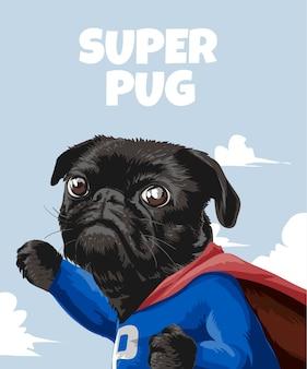 Slogan super pug con pug de dibujos animados en traje de héroe