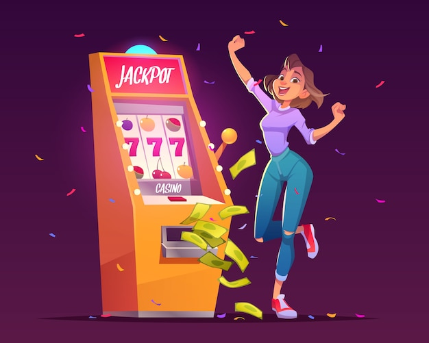 Slot machine jackpot casino win, premio en dinero.