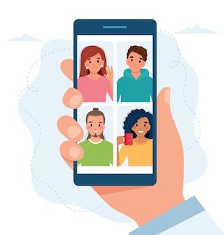 Smarphone con grupo de personas haciendo llamada grupal. reunión online mediante videoconferencia.