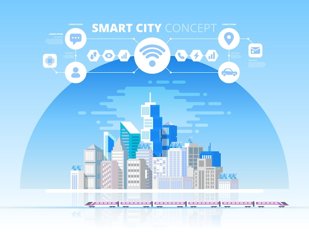 Smart city y red de comunicación inalámbrica. ciudad moderna con tecnología de futuro. concepto de diseño con iconos