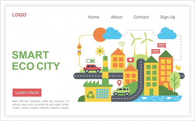 Smart eco city con página de inicio web de ilustración de vector plano de alta tecnología moderna y eficiente