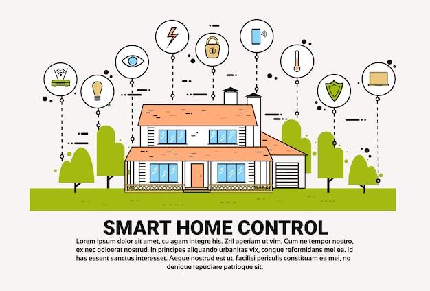 Smart home control infografía banner edificio con iconos de monitoreo sistema de tecnología de casa moderna