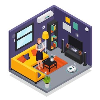 Smarthome living room iot interior con dispositivos portátiles smartwatch que controla la ilustración de composición isométrica de la aspiradora robótica