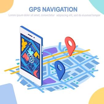 Smartphone 3d isométrico con aplicación de navegación gps, seguimiento. teléfono móvil con aplicación de mapas