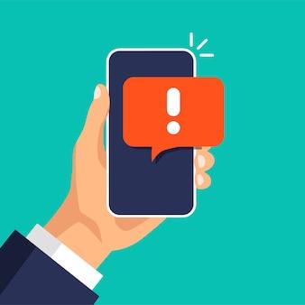Smartphone con advertencia sobre spam, conexión segura, fraude, virus aviso de alarma telefónica, mensaje nuevo.