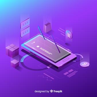 Smartphone antigravedad con elementos