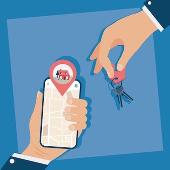 Smartphone con aplicación inmobiliaria