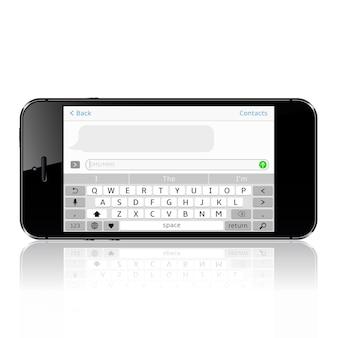 Smartphone con aplicación de mensajería sms. ventana de messenger.