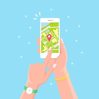Smartphone con aplicación de navegación gps, seguimiento. teléfono móvil con aplicación de mapas