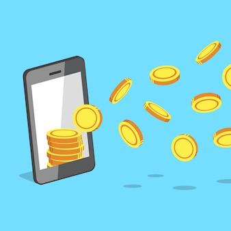 Smartphone atrayendo monedas de dinero