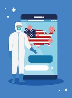 Smartphone con bandera de ee. uu. pandemia de covid19