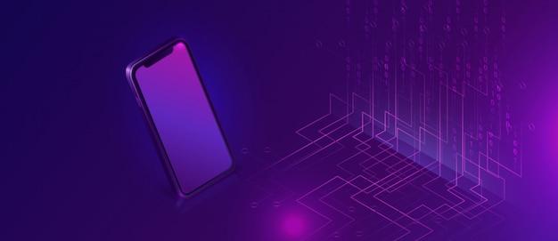 Smartphone con banner isométrico de flujo de datos grandes