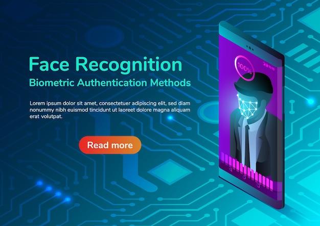 Smartphone de banner web isométrico 3d con sistema de reconocimiento facial. concepto de página de destino del sistema de seguridad de reconocimiento facial y métodos de autenticación biométrica.
