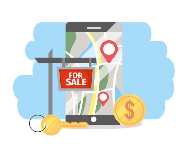 Smartphone con bienes inmuebles con ubicación a la venta.