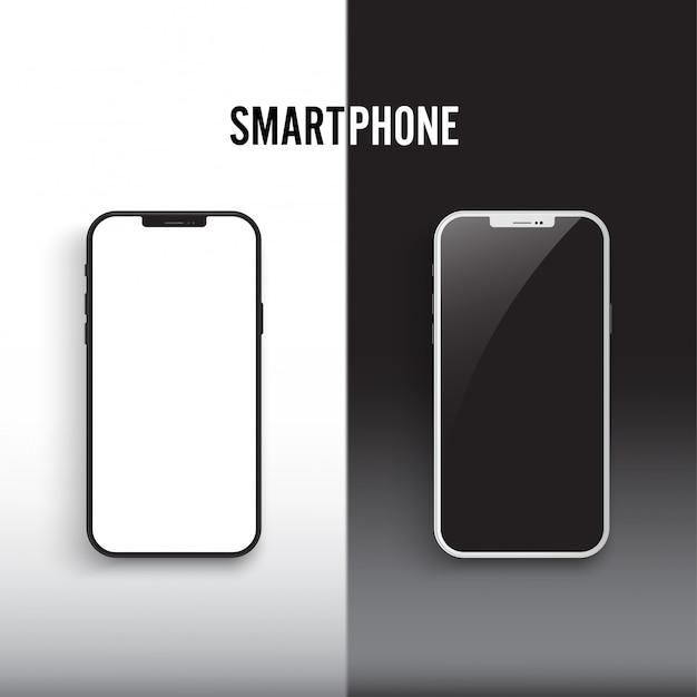 Smartphone blanco y negro con pantalla aislada en blanco y negro