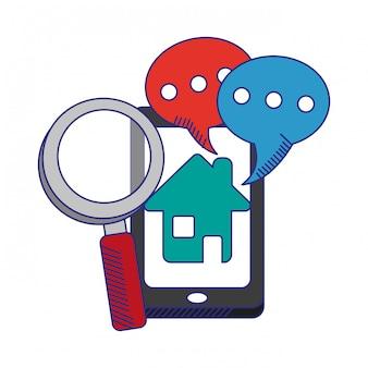 Smartphone con burbujas de chat y líneas de lupa azul.